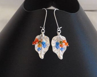 Multicolored swarovski beads and silver leaf earrings
