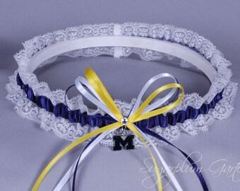 University of Michigan Wolverines Lace Wedding Garter - Ready to Ship