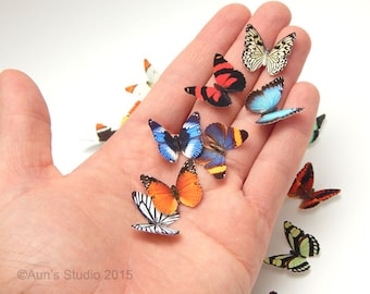 Small Paper Butterflies, Realistic, 1 inch Printed Paper Butterflies Mix of 50