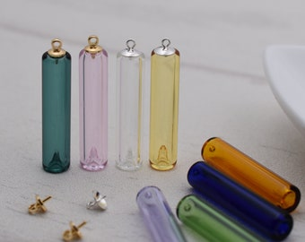 2X Coloured glaze Diffuser Perfume Refillable Coloured Essential Oil vial Pendant Necklace, glass vial pendant jewelry making supply