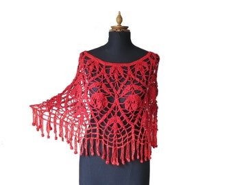 Summer Poncho - Bridal cover up - Bridal wrap - Bridal Cover Shoulders - Wedding Cover up - Bridal Shawl - Red  Capelet - Bridesmaid Cover