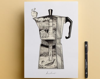 Coffee maker Inside Print