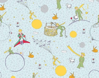 SALE The Little Prince Main Aqua - Riley Blake Designs - Boy Blue - Quilting Cotton Fabric - choose your cut