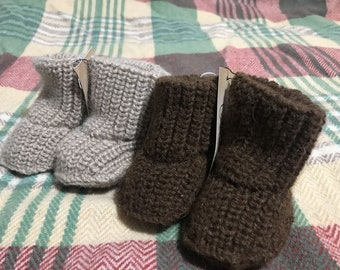Plainknit High Top Baby Booties