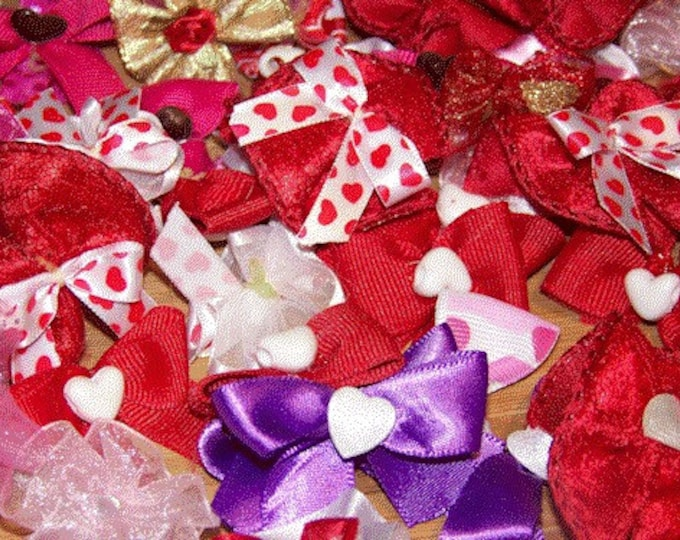 Dog Bows, Grooming Bows, Valentines Bows, Pet Bows, Assorted Dog Bows, Dog Grooming Bows, Hearts, Pink Bows, Red Bows, 50 bows