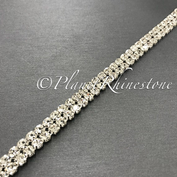 Silver Two Row Crystal Trim #T-6