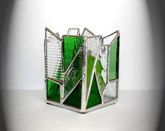 Green And Clear Stained Glass Candle Holder