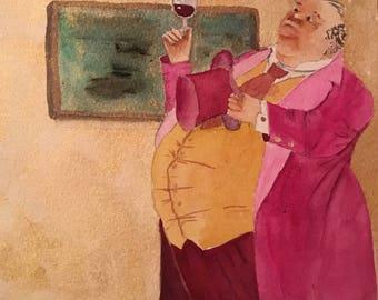Original Painting Wine Lover Gift Man Cave Decor Humorous art Watercolor Painting Art for men Gift for Wine Lover Bedroom Decor Office Decor