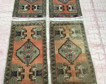 Double twins Small Runner Rug, Small Rug Runner, Small Oushak Runner, Small Turkish Runner, Bathroom Rug, Kitchen Rug