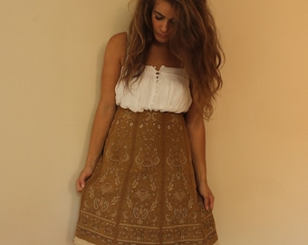 Wool Tan Embroidered Midi Skirt Bohemian Festival Peasant Skirt