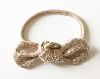 Rose Gold Glitter Knot Bow Headband// Knot Bow// Hair Clip// Nylon Headband
