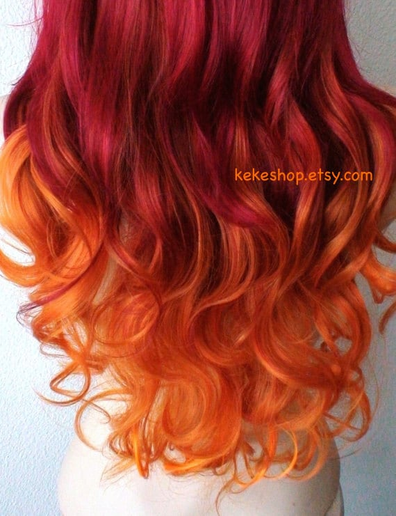 wig pastel wine red orange ombre long curly hairstyle long. Black Bedroom Furniture Sets. Home Design Ideas