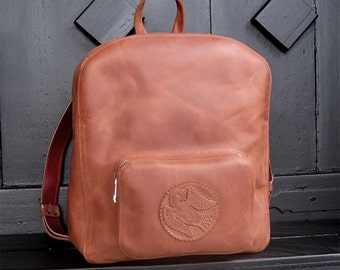 Hand made Backpack, Pink Bags, Leather Rucksack, Leather Backpack, College backpack,  Large Leather Backpack, Backpack