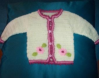 Wonderful hand crochet girls flower design cardigan