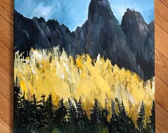 Colorado Landscape painting, Original painting, acrylic on canvas, painting on canvas, small landscape, original  artwork, Colorado mountain