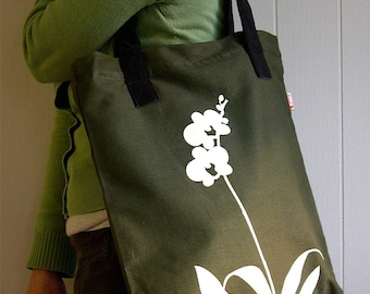 SALE Army Green Orchid Shoulder Tote Bag