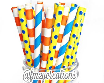 Yellow Blue and Orange Paper Straws | Boy Birthday Party Decor | Boy Baby Shower | Pool Birthday Party | Summer Party Decor |