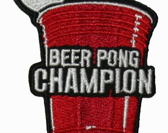 Beer Pong Champion Embroidered Iron On Applique Patch