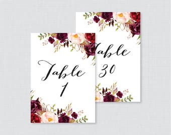 Printable Wedding Table Numbers - Marsala Floral Table Numbers for Wedding, Instant Download Table Numbers with Numbers 1-30 Rustic, 0006