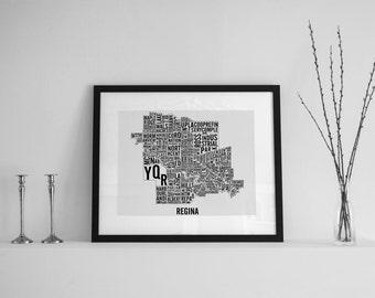 Regina Saskatchewan Neighbourhoods City Map - Regina Map - Regina Art - Typography Map
