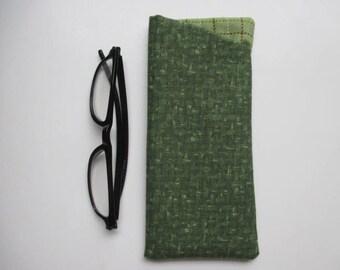 Eyeglass Case/Soft Eyeglass Case/Green with Green Plaid Lining Eyeglass Holder