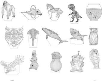 3d-effect LED-lamps patterns (Collection 80 pieces)