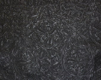"Leather 12""x12"" Western CIRCLE Pattern BLACK Embossed on our BIKER Cowhide 3.5 oz / 1.4mm PeggySueAlso™ E2812-04"