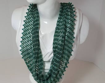 Handwoven beaded scarf necklace in shades of teal