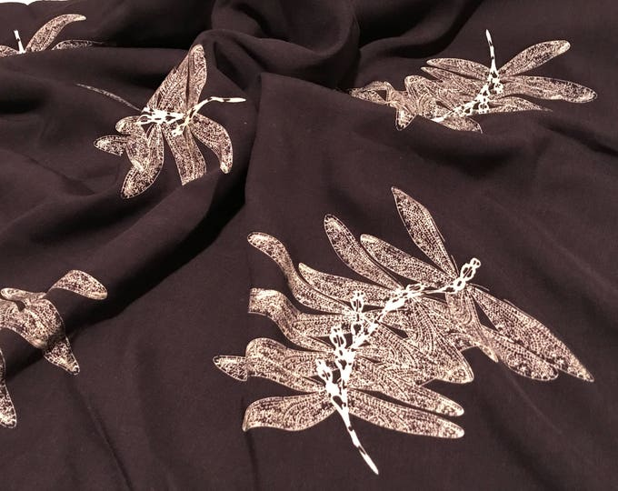 Dragonflies in Dark Blue - Rayon  Dress / Apparel Fabric