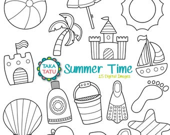 Summer Time Digital Stamp Pack - Black and White Clipart / Summer Clipart / Vacation / Beach Clipart / Boat / Sandcastle - Instant Download