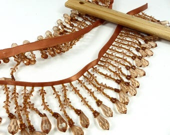 Beaded Fringe Custom Made Amber Brown Lush 4 3/4 Yds for Home Decor Lampshades