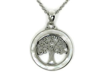 Sterling Silver Mother of Pearl Disc Openwork Tree of Life Pendant Necklace