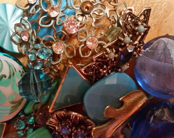 Vintage Vibrant Blues Beads and Baubles Jewelry Destash Inspiration Upcycle Mix Lot