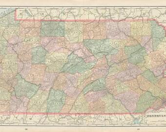 PENNSYLVANIA, OHIO and INDIANA U.S.A. State Maps -  1899