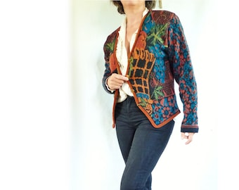 Cardigan vintage 80's french baroque floraf M (38 40 Fr) Cardigan jacket jacquard pattern