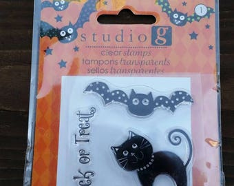 Studio G Clear Stamps - Halloween Theme - bat, cat, trick or treat - paper stamping and card making