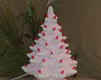 "Ceramic Christmas Tree Lighted 14"" Nowell Vintage Mold - Pink Flocked - Star"