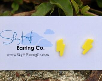 Lightning Earrings   Thunder Earrings   Lightning Studs   Titanium Earrings   Hypoallergenic Studs   Yellow Earrings   Bright Earrings