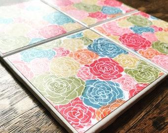 Rainbow floral- Tile Coasters