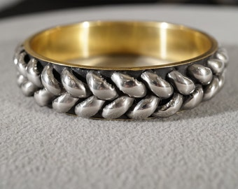 Vintage Brass Silver Tone Raised Woven Braided Domed Bangle Bracelet