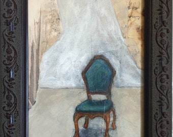 Original, Mixed Media, Collage, Framed, Chair