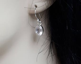 Rose quartz earrings, faceted, set in 92.5 sterling silver