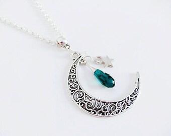 Necklace Moon filigree and emerald green Swarovski Crystal drop