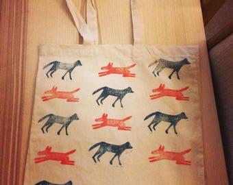 Handprinted, Linoprint, Dog Print, Long Strap, Tote Shopping Bag