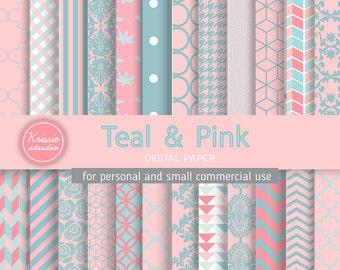 SALE ***Teal & Pink Digital Paper - Backgrounds - for graphic design, crafts,scrap booking - INSTANT DOWNLOAD (DP026)