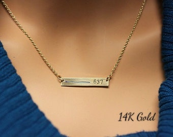 Thin blue line personalized necklace for police wife custom thin blue line necklace 14k gold rose gold or sterling silver necklace for police wives custom law enforcement number rectangle bar aloadofball Image collections