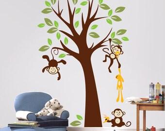 Baby Nursery Wall Decals - Tree with Monkeys Wall Stickers - PLMG010