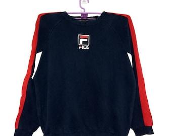 Rare FILA sweatshirt crewneck small logo print black colour