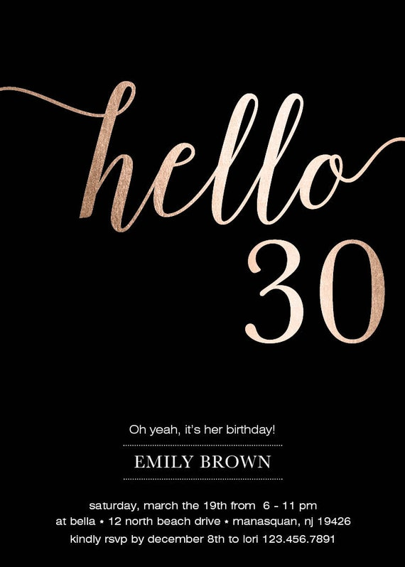 30th birthday invitation modern faux gold foil hello 30 30th birthday invitation modern faux gold foil hello 30 thirty birthday cards eco friendly soy ink free shipping or diy printable filmwisefo Images
