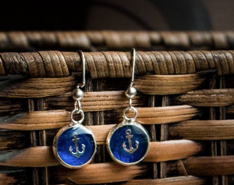 Nautical, sailor, royal blue, anchor surgical steel drop earrings
